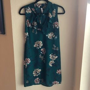 Teal Flower Tie Neck Dress with POCKETS